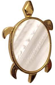 Trifari Crown Trifari Gold Tone Mother Of Pearl Turtle Brooch Pin