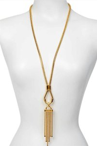 Diane von Furstenberg NEW DVF Bell Snake Chain Long Tassel Necklace, Gold, DV00111-N01