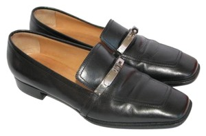Hermès Hermes Loafers Leather Black Flats