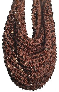 Bisou Bisou Holiday Sequin Satchel in Brown