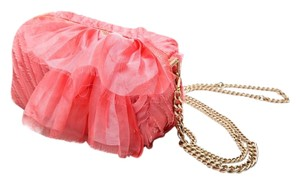 J.Crew Chiffon Silk Date Night pink, gold Clutch