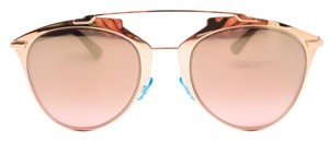 Dior Rose Gold and Navy Reflected Mirror Aviator Sunglasses