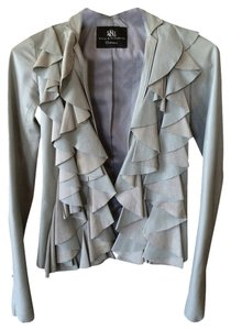 Rock & Republic Faux Leather Ruffle Silk Grey Blazer