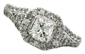 Ladies Modern 18K 750 White Gold Halo Diamond Engagement Ring EGL USA