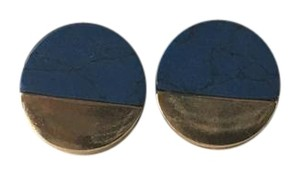 Other Blue Marble Stone Gold Circle Stud Earrings