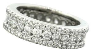 Other Ladies Modern Platinum Triple Row Eternity Diamond Wedding Band Ring