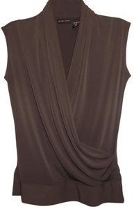 New York & Company Plunge Crossover V-neck Top Brown