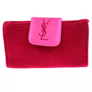 Saint Laurent Pink Velor Cosmetic Pouch
