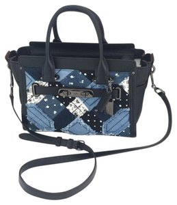 Coach Swagger Leather Patchwork Crossbody Tote in BlUE
