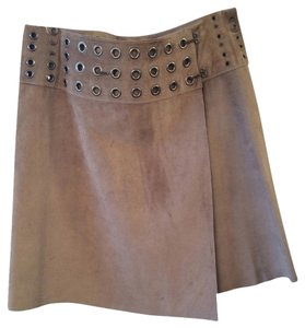 Nearly Nude Suede Studded Fall Spring Skirt Brown