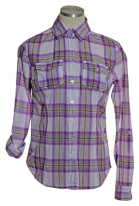 Aéropostale Button Down Shirt Purple Multi