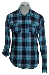 Aropostale Button Down Shirt Blue Green