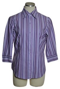 Notations Button Down Shirt Purple