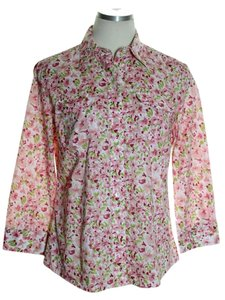 Jones New York Button Down Shirt Pink Multi
