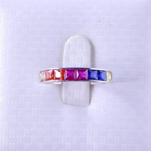 Custom-Made RAINBOW SAPPHIRE SINGLE ROW BAND 3 x 3mm PRINCESS CUT CHANNEL SET STERLING SILVER