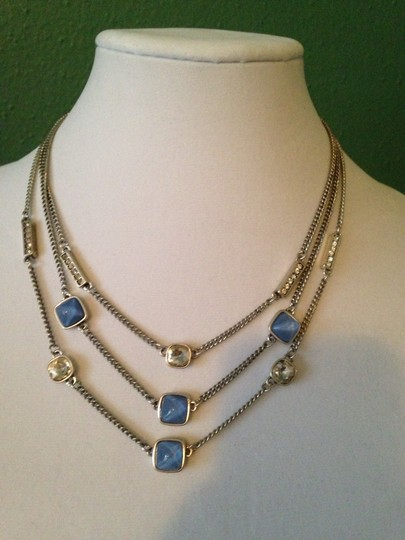 Kenneth Cole Faceted Blue Bead & Crystal Multi-Row Necklace