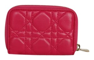 Dior Dior 'Lady Dior' Pink Mini Zip Coin Purse
