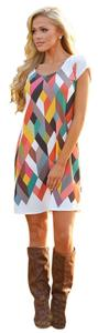 short dress white, brown, blue, pink P2297 Size Small on Tradesy