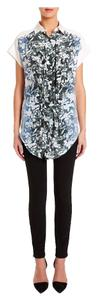 Alexander Wang Silk Black Floral Ombre Shirt Top