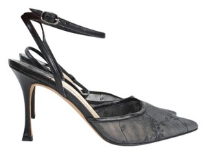 Manolo Blahnik Black Mesh Pointed Toe Slingback Heels Sandals