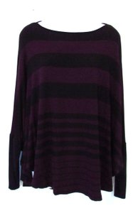 Capote Striped Dolman Top Black and Plum