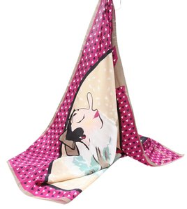 Moschino printed silk moschino scarf with illustration of woman