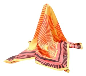 Moschino orange and yellow silk scarf with island sunburst print