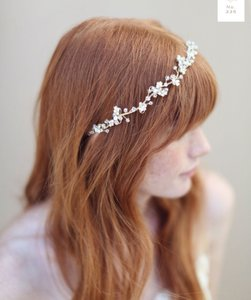 BHLDN Silver Twigs & Honey Floral And Crystal Hair Vine Headpiece