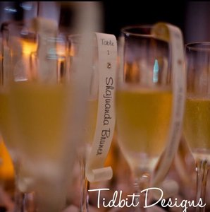 Personalized Charming Champagne Flute Escort /place Card Scrolls