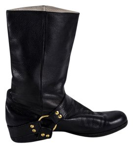 Chanel Vintage Motorcycle Harness Leather Black Boots