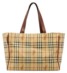 Burberry 12843 Tote in Tan, Black, White, Red