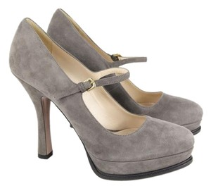 Prada Suede Nwt Mary Jane Gray Platforms