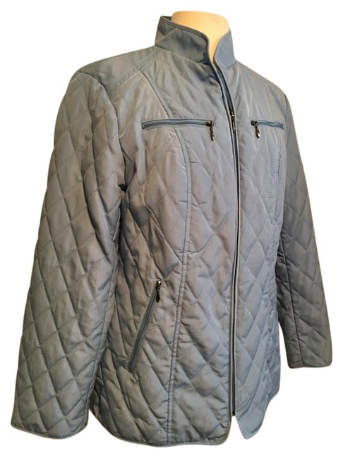 Item - Sky Blue Nwot Quilted 4 Chrome Zip Pockets Coat Size 8 (M)