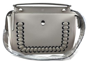 Fendi Dotcom Whipstich Red Creme Satchel in Gray