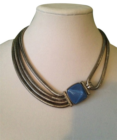 Kenneth Cole Faceted Blue Bead Multi-Row Necklace