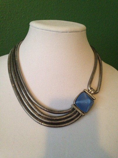Kenneth Cole Faceted Blue Bead Multi-Row Necklace Image 3