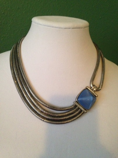 Kenneth Cole Faceted Blue Bead Multi-Row Necklace Image 4