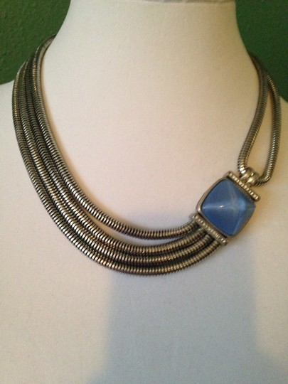 Kenneth Cole Faceted Blue Bead Multi-Row Necklace Image 5