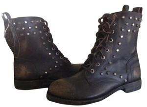 Frye Combat/moto Distressed Leather Black Distressed Black Boots