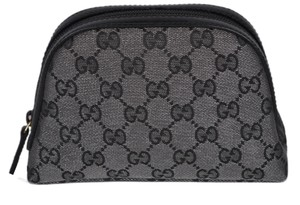 Gucci Gucci 272366 Metallic Silver Grey Canvas GG Dome Cosmetic Makeup Bag