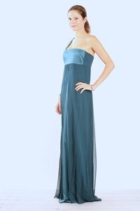 Dessy Teal 57 Grand One Shoulder Teal Silk And Chiffon Bridesmaid Gown Dress