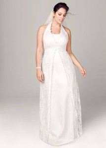 David's Bridal A-line Lace Plus Size Wedding Dress With Beading Style # 9h9572 Wedding Dress