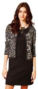 Anthropologie Bling Sparkle Leopard Print Button Closure Cotton Top Gray Black