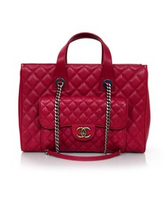 Chanel Satchel Caviar Leather Tote in red