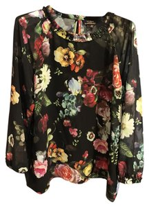 Ted Baker Woven 3/4 Sleeve Floral Printed Pleated Top Multicolor