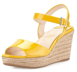 Prada Patent Leather Espadrille Yellow Sandals