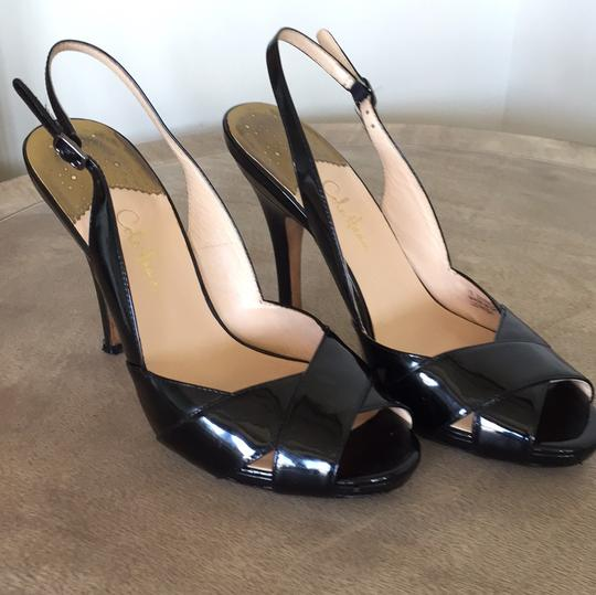 Cole Haan Patent Leather Evening Night Out Date Night Formal Comfortable Slingback black Pumps