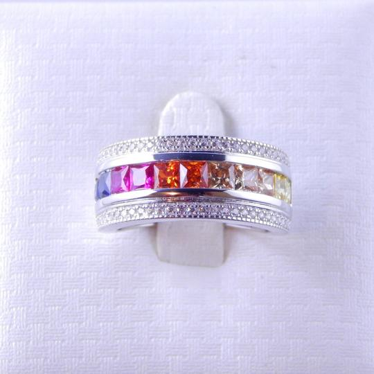 Other RAINBOW SAPPHIRE PRINCESS CUT STERLING SILVER Image 0
