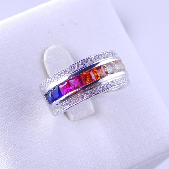 Other RAINBOW SAPPHIRE PRINCESS CUT STERLING SILVER Image 1