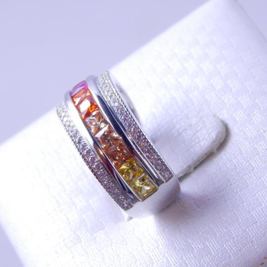 Other RAINBOW SAPPHIRE PRINCESS CUT STERLING SILVER Image 2